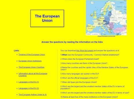 English teaching worksheets: European Union